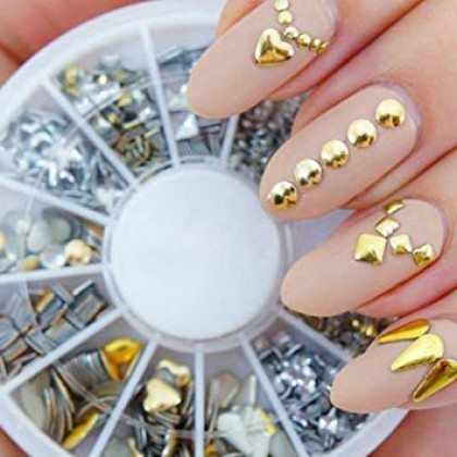 Metal Studs for Nail Art, Resin Embellishments, Resin Inclusions, Resin Filler, Gold Silver Mix (710-502P)