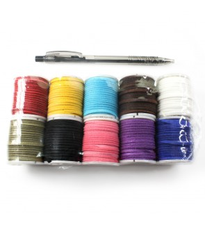 10 mini spools Stringing Cord, Velvet Korean (Faux Suede), 2mm, Assorted Color