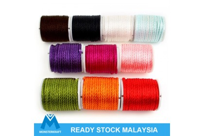 """10 spools Stringing Cord, Mini """"Ying"""" Rope (Twisted Nylon), 2mm, Assorted Color"""