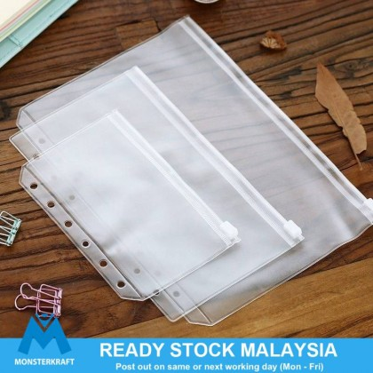 A5/A6 Clear PVC Waterproof Bag 6 Hole Notebook Planner Acessories