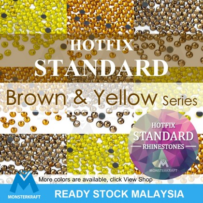 Hotfix STANDARD Rhinestones, Brown & Yellow Series, Manik Tampal Beads