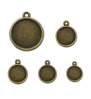 Picture Frame, Round, Antique Brass-Plated