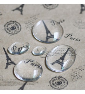 Glass Cabochons, Transparent, Round Flat Back