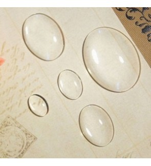 Glass Cabochons, Transparent, Oval Flat Back (654-051P)