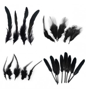 Natural Feathers Rooster For Dream Catchers DIY, Bulu Ayam, Black Series