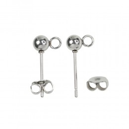 Earstud, Stainless Steel, 4mm Ball with Open Loop, 10 pairs/pack (509-437)