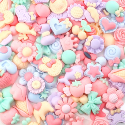 Mix Resin, Pastel Matte Mix, Cute Cabochon, Mix Lot, 50 pcs /pack (655-009)
