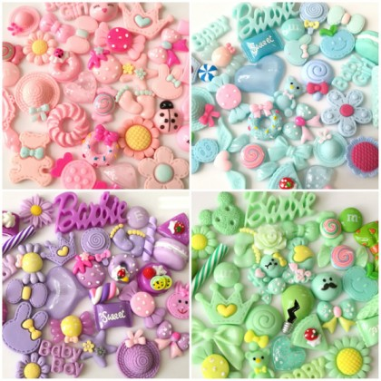 30pcs Mix Resin, Kawaii Cabochon Mix, Cute Resin for Crafts & Slime & Scrapbook