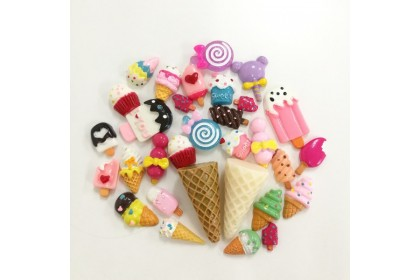 30pcs Mix Resin, Ice cream Cupcake Mix, Cute Cabochon for Crafts & Slime
