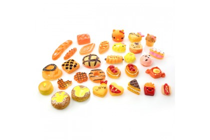 30pcs Mix Resin, Bakery, Bread Mix, Cute Cabochon for Crafts & Slime