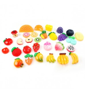 30 pcs Mix Resin, Fruits Mix, Cute Cabochon for Crafts & Slime