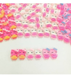 10pcs Hello Kitty Resin, Shimery Doom, Kawaii Cabochon Resin for Crafts & Slime