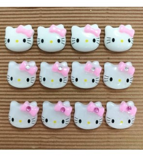 10 pcs Hello Kitty Resin, Kawaii Cabochon, Cute Resin for Crafts/Slime/Scrapbook