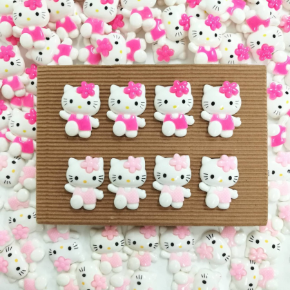 10pcs Hello Kitty Resin, (18x23mm)  Hello Floral Kitty for Crafts & Slime