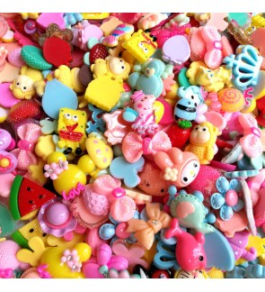 30pcs Medium Size Mix Resin, Kawaii Cabochon Mix, Cute Cabochon for Crafts Slime