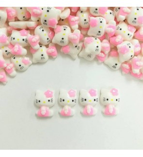 10pcs Hello Kitty Resin, Pink Color, Hello Kitty, Cabochon for Crafts & Slime