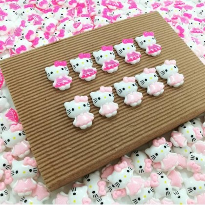 10 pcs Hello Kitty Resin, Hello White, Kawaii Cabochon Resin for Crafts & Slime