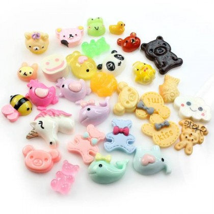 30 pcs Animals Theme Mixed Cabochons Resin Flat for Crafts & Slime