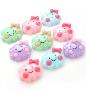 10 pcs Cute Cloud Resin, Resin Flat, Kawaii Cabochon for Crafts & Slime Topping