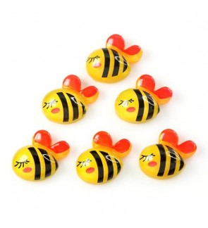 10 pcs Bee Resin, Resin Flat, Kawaii Cabochon for Crafts & Slime Topping