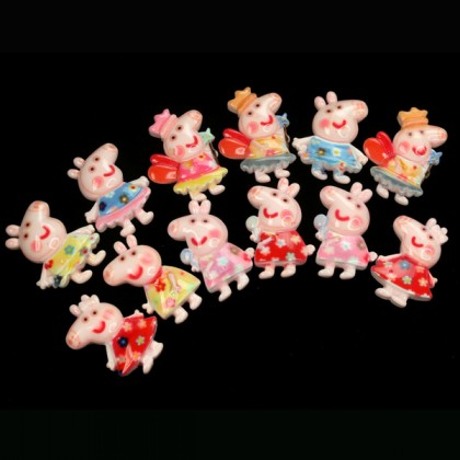 10 pcs Peppa Pig Mix Resin