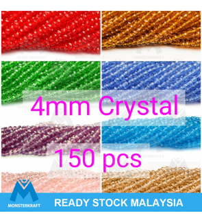 4mm Chinese Crystals Glass Beads, Rondelle Donut Beads Manik Jahitan Sulaman