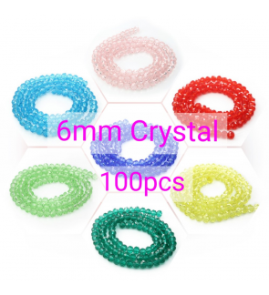 6mm Very Sparkling Chinese Crystal Glass, Donut Rondelle Beads Manik
