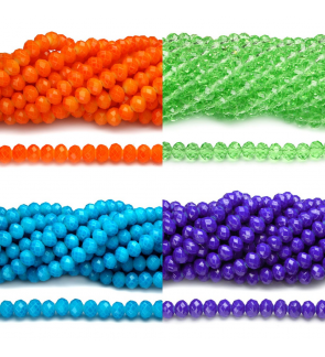 72 pcs 8mm Chinese Crystals Glass Beads Rondelle Donut Jahitan Sulaman Bling