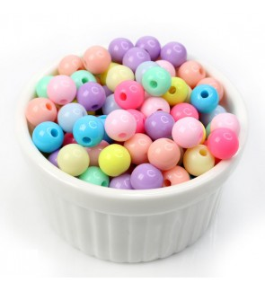 Cute Kawaii Round Acrylic Beads for Kids Making Jewelry, 40 grams/pack
