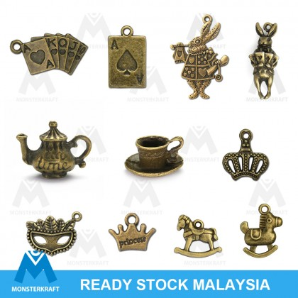 3D Charms, Alice in the Wonderland Theme, Fairy Tale Princess Theme Antique Brass-Plated Pewter Charm