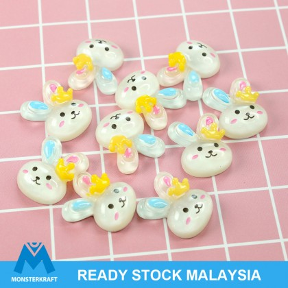 10pcs Rabbit Resin, Resin Flat, Kawaii Cabochon