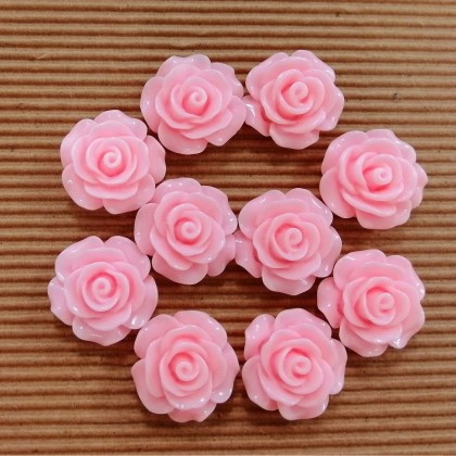 Resin Cabochons, Rose, 18mm