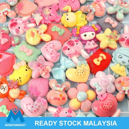 30pcs Medium Size Mix Resin, 3D Cabochon Mix, Cute Cabochon for Crafts & Slime