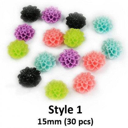 Mix Colors Resin Cabochons, Flower Dahlia Cabochon for Crafts Slime & Scrapbook