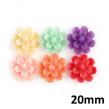 10 pcs Resin Cabochons, Daisy, Assorted Colors (652-045LP)
