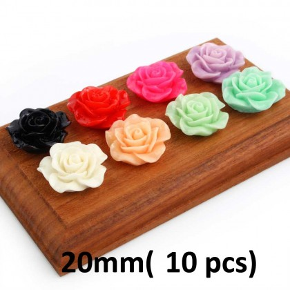 Resin Cabochons, Flower Rose, Assorted Colors for Crafts & Slime & Scrapbook