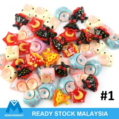 Mix Acrylic Cabochons, Assorted, 50 pcs per pack for Crafts & Slime
