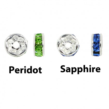 10 pcs  Rhinestones Rondelle Spacers, Bright Silver-Plated Brass