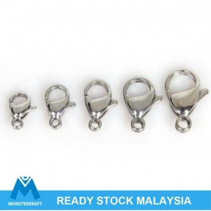 Clasps, Lobster Claw, Stainless Steel, 10 pcs/pack (504-380P)