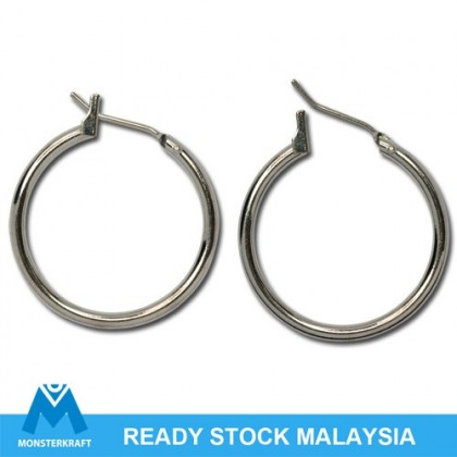 6 pairs Earring, Round Hoop, 23mm (1.8mm Thick), Silver-Plated Brass