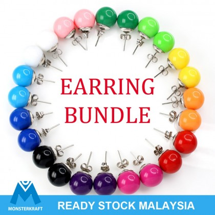 CLEARANCE!! Earstud Bundle, 12 pairs, 12mm Colorful Acrylic Ball