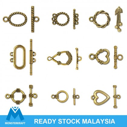 Gold Toggle Clasp, Charm Bracelet Clasp, Antique Gold-Plated