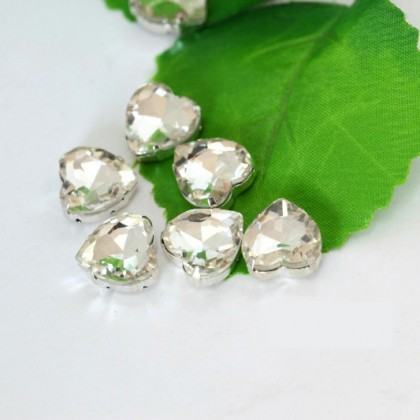 20 pcs Glass Sew-on Rhinestones with Settings, Heart, 10mm, Crystal