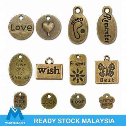 Pewter Charms,  Words Theme, Antique Brass-Plated (604-387P)