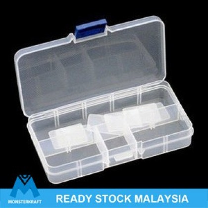 Small Organizer Box, 10-compartment with Removable Dividers, 13.2x6.8x2.3cm