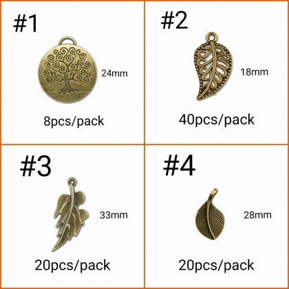 Pewter Charms,  Nature Theme, Antique Brass-Plated, Leaf Tree Nut