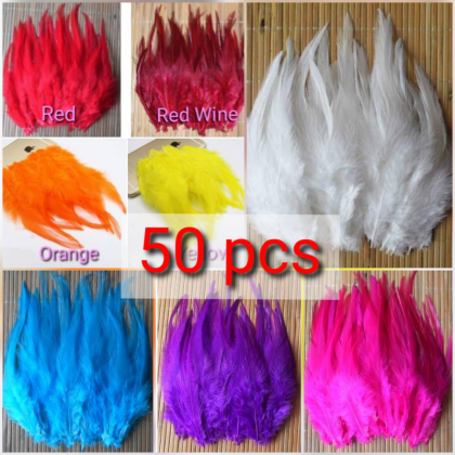 50pcs Feathers (Bulu) 10-15cm Rooster Tail for dreamcatcher Craft