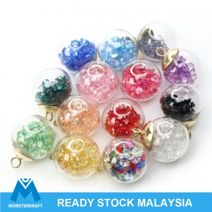 6 pcs Handmade Rhinestones Hollow Glass Pendant, Round Globe, 16mm (618-300P)