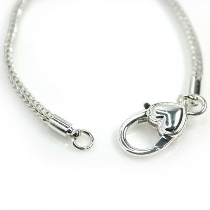 European Style Bracelets, 19cm to 20cm, Silver, Large Hole Beads Chain