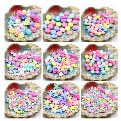 35 grams Acrylic Beads, Sweet Candy, Kids DIY bracelet Necklace Pastel Color Beads